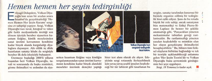 """""""Hemen Hemen Herseyin Tedirginligi"""", Hürriyet Kitap Sanat, #227, Page 11, June 4th 2021, Turkey"""